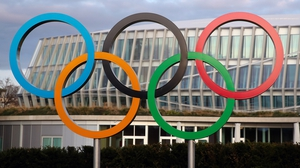 The Olympic rings by the headquarters of the International Olympic Committee (IOC)
