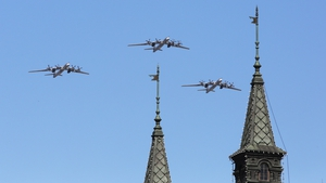Tupolev TU-95 bombers fly over Moscow's Red Square during a Victory Day military parade in May 2016. Photo: Marina Lystseva\TASS via Getty Images