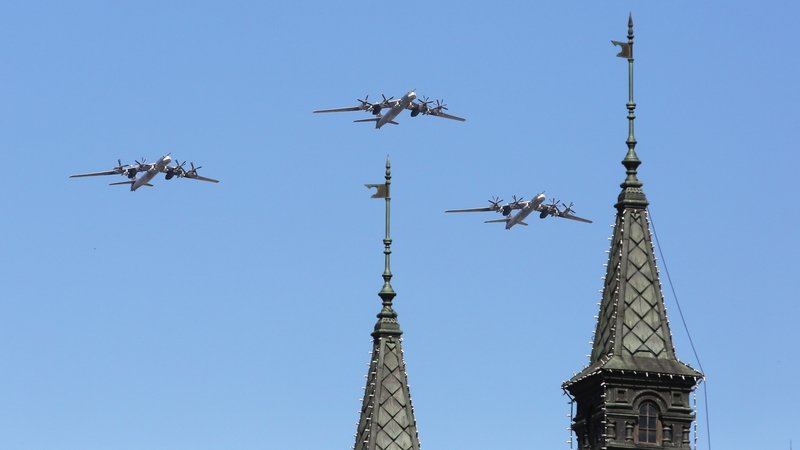 Tupolev TU-95bombers fly over Moscow's Red Square during a Victory Day military parade in May 2016. Photo:Marina Lystseva\TASS via Getty Images