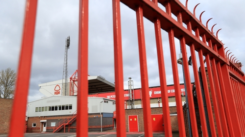 A view of closed gates at the City Ground, Nottingham