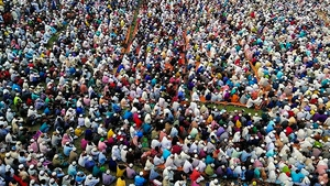 Organisers claimed 25,000 worshippers gathered to pray, seeking protection from the coronavirus