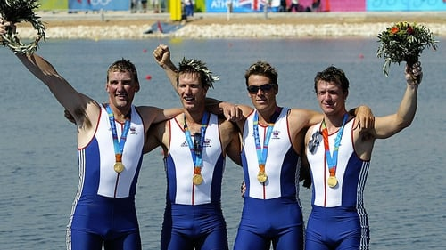 (Left to right):  Matthew Pinsent, Ed Coode, James Cracknell and Steve Williams with their gold medals at the 2004 Athens Games