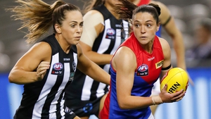 Sinead Goldrick (R) made a big impact with the Demons