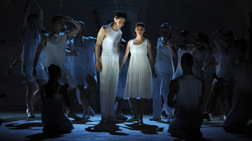 Paris Fitzpatrick as Romeo and Cordelia Braithwaite as Juliet in Matthew Bourne's Romeo And Julietat Sadler's Wells Theatre, London in 2019.Photo:Robbie Jack/Corbis via Getty Images