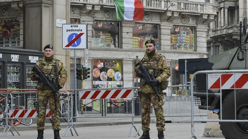 Italian soldiers of the Italian patrol around the Piazza Del Duomo in Milan