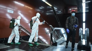 Spanish armed forces disinfect train station in Madrid