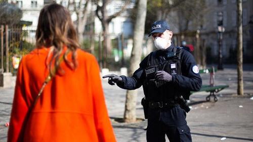 A policeman on patrol in Paris during the coronavirus lockdown