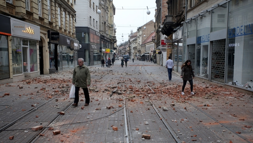 Debris strewn across a Zagreb street