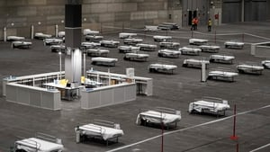 Temporary hospital at a pavilion in IFEMA convention and exhibition center