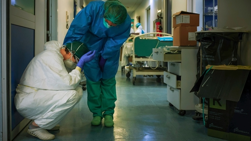 Anxiety during a pandemic is a particularly big issue for healthcare workersbecause they're at an increased risk of getting the virus (file pic)