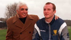 Then Wimbledon chairman Sam Hammam alongside new signing John Hartson