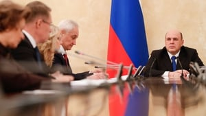 Russian Prime Minister Mikhail Mishustin chairs a meeting on the coronavirus pandemic in Moscow