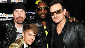 The Edge, Justin Bieber, will.i.am and Bono pictured together in 2011