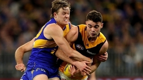 Conor Nash (right) in the colours of Hawthorn