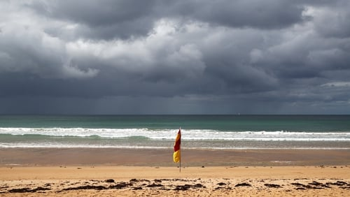 Manly Beach is seen deserted in Sydney, Australia