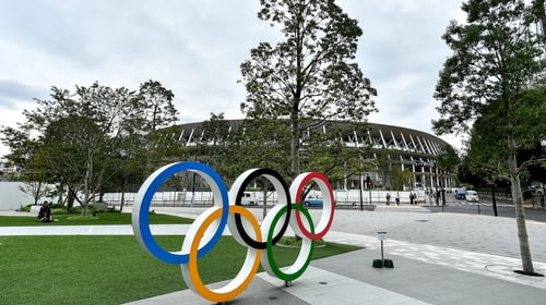 See you in 2021: Olympic rings outside the Tokyo Olympic Stadium