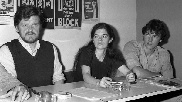 "The ""Irish of Vincennes"" Michael Plunkett, Mary Reid and Stephen King at a press conference in October 1983. Photo: Eric Bouvet/Gamma-Rapho via Getty Images"