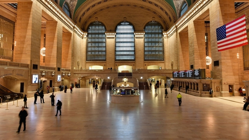 The usually busy Grand Central Station in New York is seen nearly empty