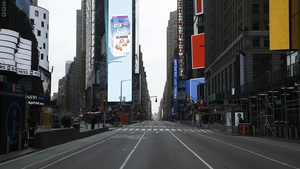 A near empty Times Square in New York, which has become an epicentre of the coronavirus pandemic