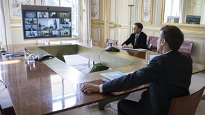 French President Emmanuel Macron during the video conference call at the Elysee Palace