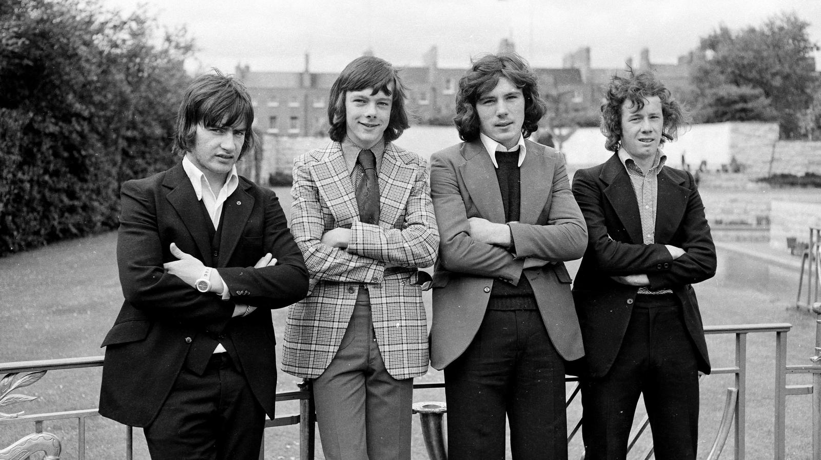 Image - John Murphy, David O'Leary, Frank Stapleton and Liam Brady at an Irish Arsenal players photocall