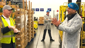 Taoiseach Leo Varadkar pictured with Fyffes Chairman David McCann (left) on a visit to its ripening facility in Swords in Co Dublin