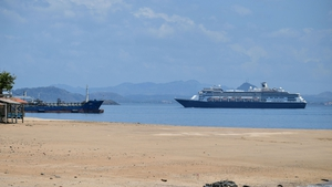 The Zaandam cruise ship entering the Panama City Bay to be assisted by the Rotterdam cruise ship with supplies