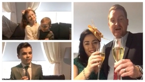 The family of the couple sent them their Irish wedding via video