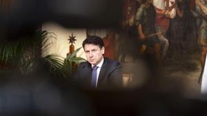 Italian Prime Minister Giuseppe Conte at a press conference at Palazzo Chigi, Rome