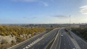 The M50 at junction 13 was almost empty at rush hour this morning