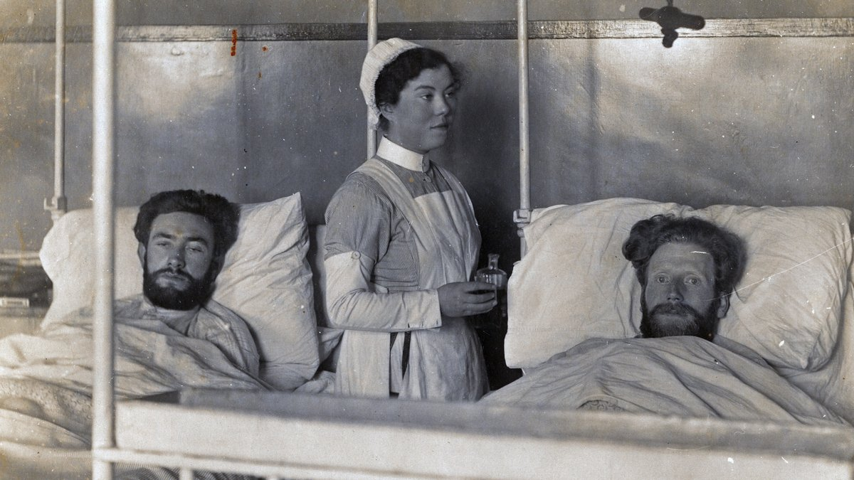 Volunteers Maurice Crowe (Tipperary) and Michael Carolan (Belfast) recover in the Mater Hospital (April 1920) after the Mountjoy hunger strike had ended [Photo: Irish Military Archives,, IE-MA-BMH-CD-208-2-11