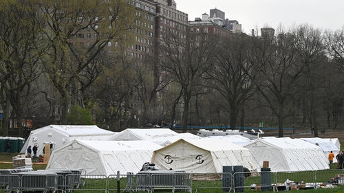 The emergency field hospital facility in New York's Central Park