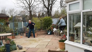 Ruth Mitchell's parents were spotted making the most of their back yard, when she arrived to drop off some shopping