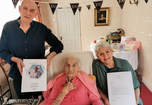 Peggy Fisher celebrated her 100th birthday in Dublin with three family members present.