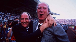 Maurice Setters and Jack Charlton celebrate the 1-0 win over England at Euro 88