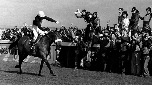 Tommy Stack and Red Rum pass the winning post at Aintree