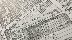Rocques map of Dublin 1756, Moore Street  centre and Sackville St (Now O'Connell St) at bottom right