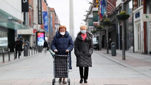 Women wearing face masks on Henry Street in Dublin city centre