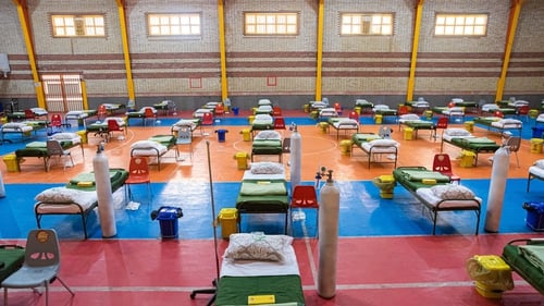 A view of a field hospital in Iran