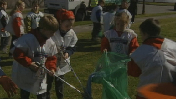 Children picking up litter during spring clean in Rathcoole, Co. Dublin (2000)