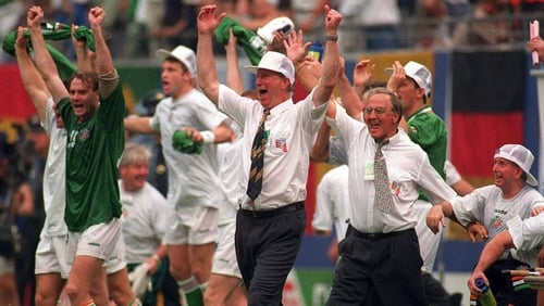 Jack Charlton celebrates after Ireland's 1-0 victory over Italy at the 1994 World Cup
