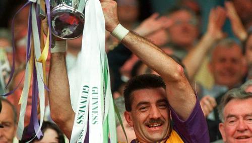Martin Storey holds the Liam MacCarthy Cup aloft in 1996