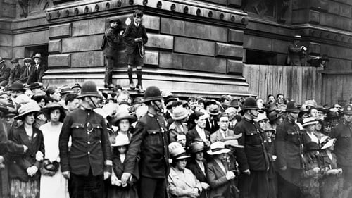 Irish people demonstrate in London in 1921 about the partition of Ireland under the Government of Ireland Act 1920. Photo: AFP via Getty Images