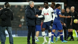Tottenham manager Jose Mourinho and Tanguy Ndombele were photographed at an outdoor training session