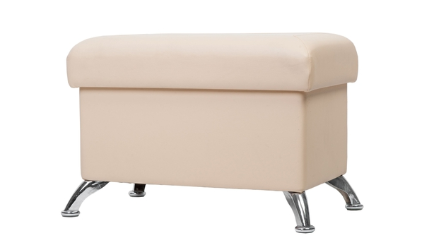 Beige rectangular pouf with legs isolated on white