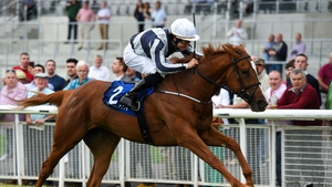Albigna, with Shane Foley up, on their way to winning the Airlie Stud Stakes race at The Curragh Racecourse in Kildare