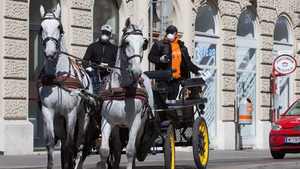 The carriages, or 'Fiaker' as they are called in Vienna, are taking part in a food delivery scheme in one of the city's central districts