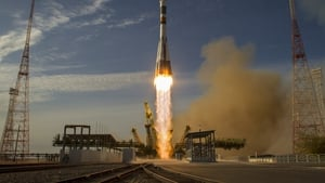 The three-man crew left Russia's Baikonur Cosmodrome in Kazakhstan