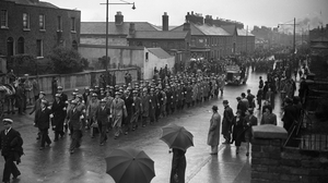 The funerals for the victims of the North Strand bombings in Dublin in 1941. Photo: Independent News And Media/ Getty Images