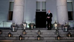 President Michael D Higgins lights up Áras an Uachtaráin